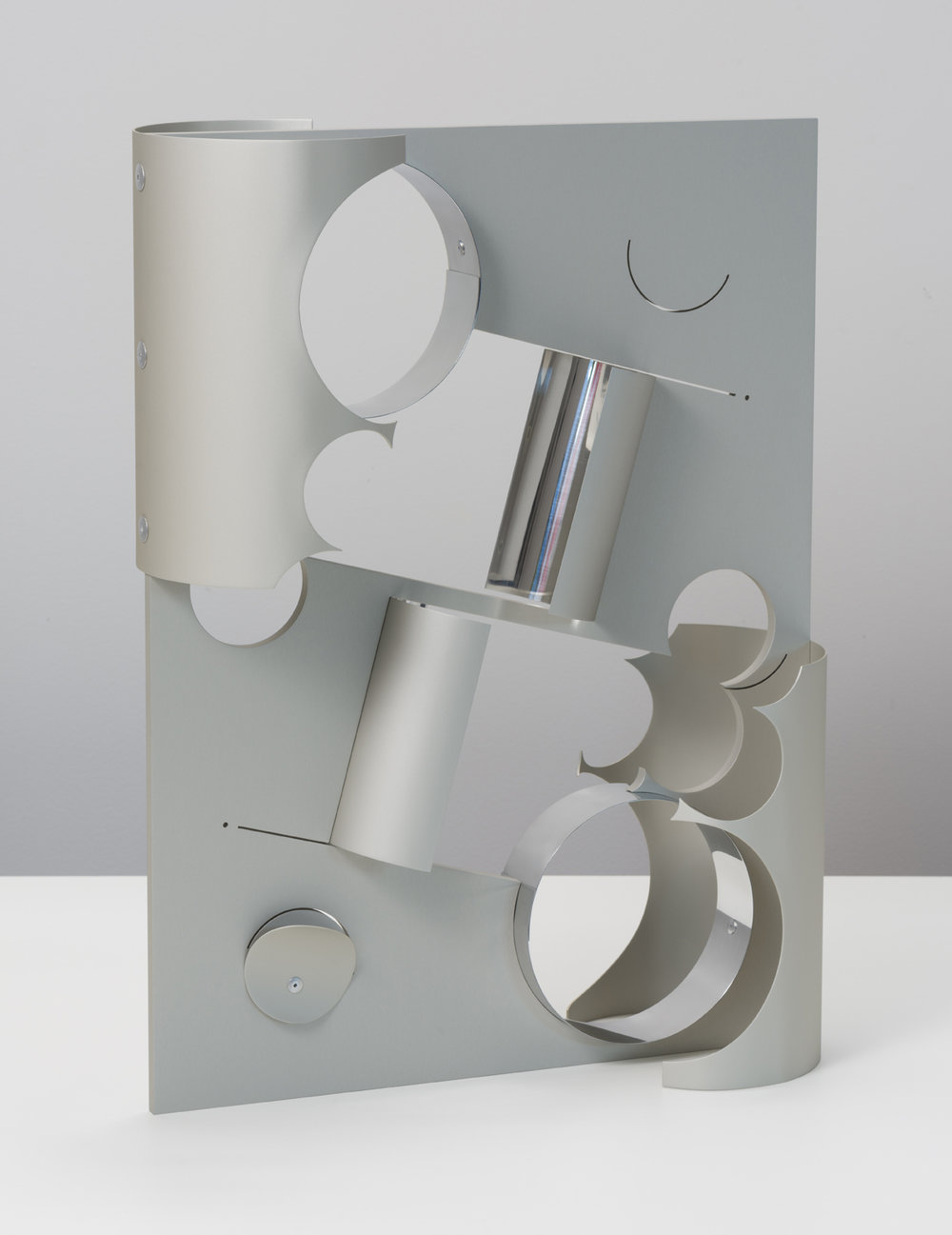 Matt Paweski, Tina, 2018. Anodized and polished aluminium, aluminium rivets, 57.7 x 43.1 x 17.7 cm; 22.75 x 17 x 7 inches.