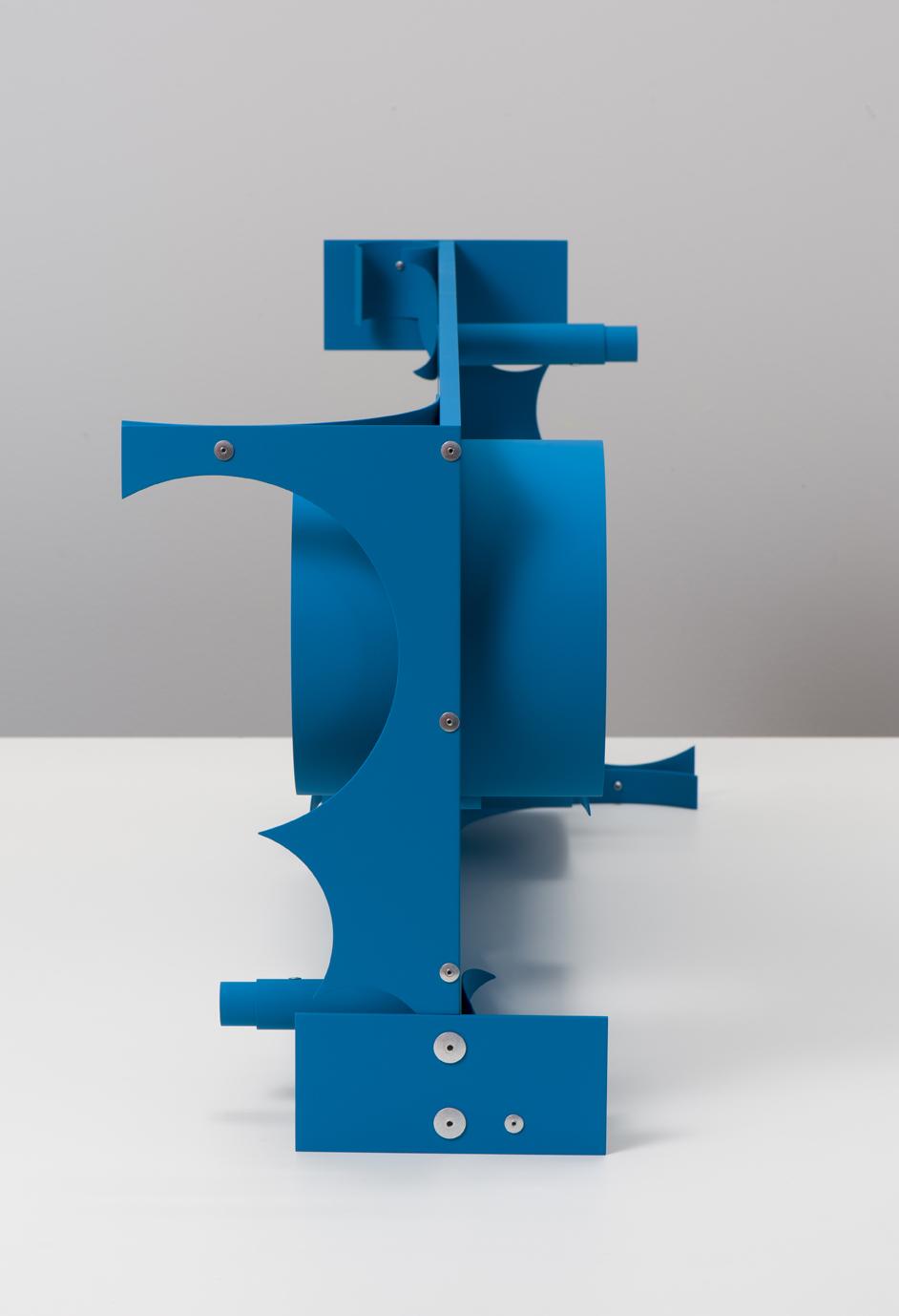 Matt Paweski, Bossy, 2018. Aluminium, aluminium rivets, vinyl paint, 35.5 x 76.8 x 33 cm; 14 x 30.25 x 13 inches.