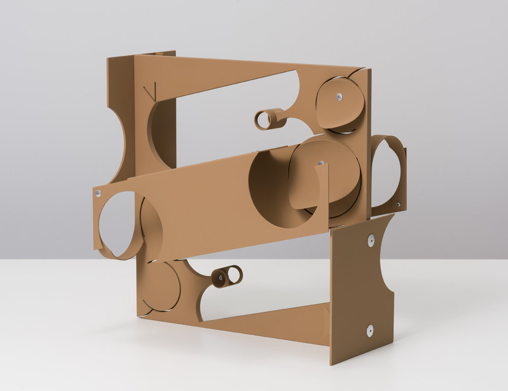 Matt Paweski, 2 Seater, 2018. Aluminium, aluminium rivets, vinyl paint, 35.5 x 36.1 x 19.6 cm; 14 x 14.25 x 7.75 inches.