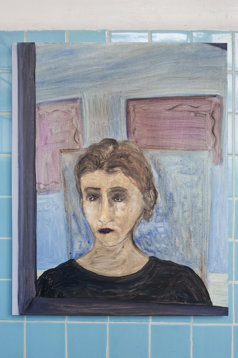 """Lea von Wintzingerode  """"Spiegelbild eines Knaben"""",  2019. Oil on canvas, 70 x 55.5 cm (27.5 x 21.8 in)"""