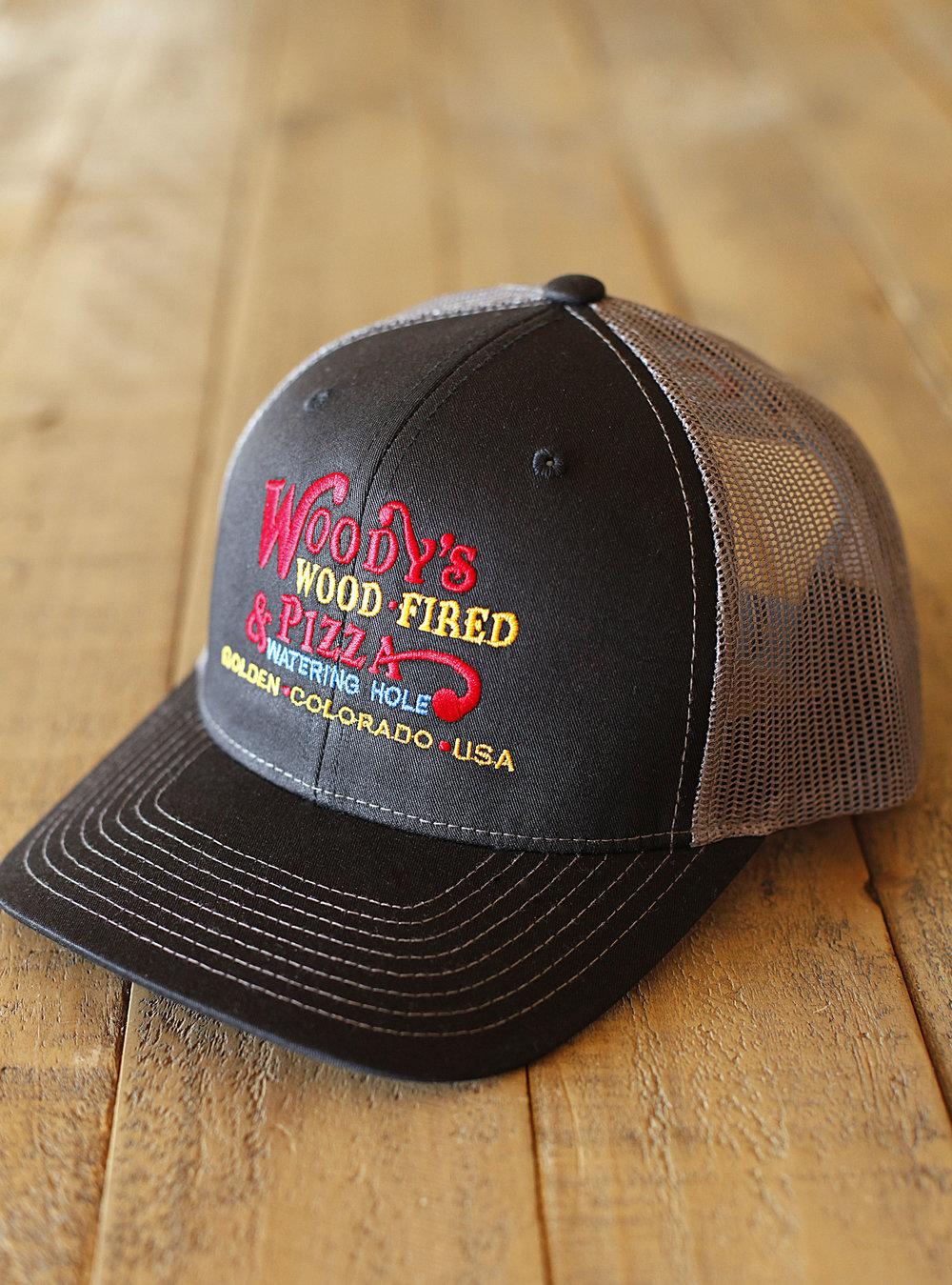 fa16a77a79f64 Black Trucker Hat — Woody s Wood Fired Pizza