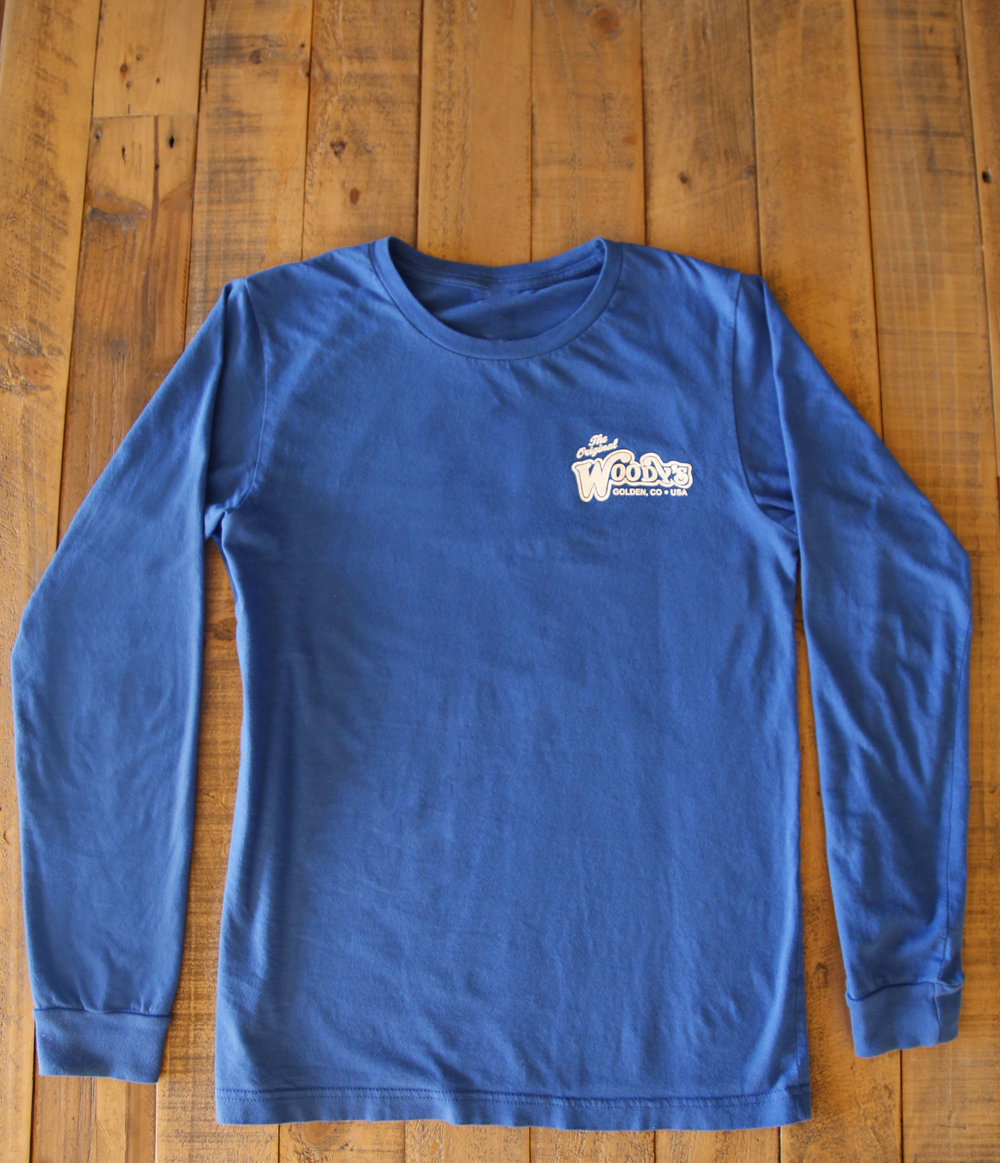 ef670b98 Colorado Blue Long Sleeve Pizza Flag Shirt — Woody's Wood Fired Pizza