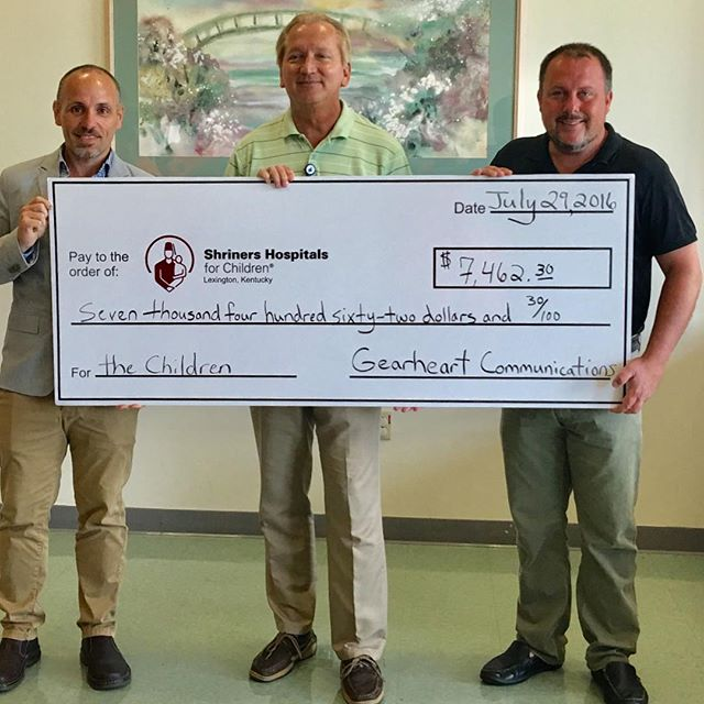 Gearheart Communications check donation to the Shriners Hospital in Lexington, Kentucky.