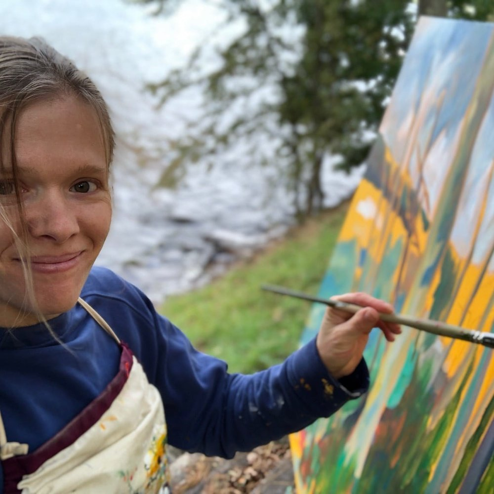 Bronwen Mayer Henry painting en plein air at Lake Wallenpaupack Creativity and Freedom Retreat 2018