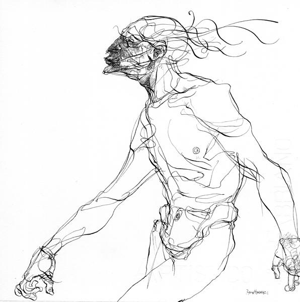 Rene Almanza, Caminante, tinta china sobre papel, 19x19 cm, 2007.jpg
