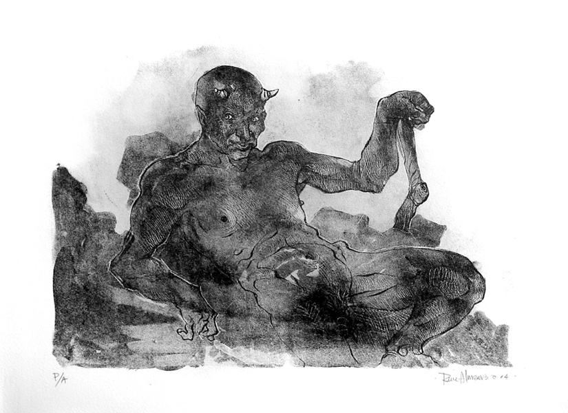 """""""Don Diablo"""" litografia sobre mármol mexicano, edición de 7, 38x57cm, 2004."""