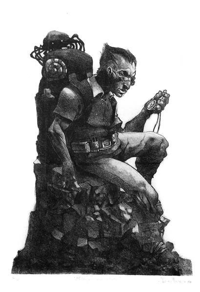 """""""El Viajero y un intruso"""" litografia 38x57cm, 2004"""