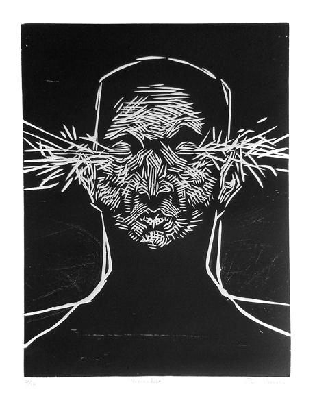 """""""Expandiendo el universo"""" xilografía, 56x38 cm"""