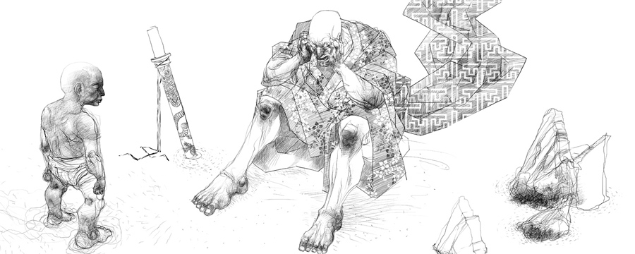 "Serie- ""Historia de un guerrero, Samuray desolado"" electrografía, medidas variables, 2007"