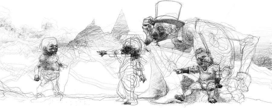"""Serie- """"Historia de un guerrero, tierras escarpadas, electrografía"""" medidas variables, 2007"""