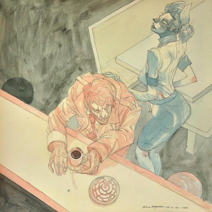 (DETALLE)En el Café Popular, acuarela y grafito sobre papel de algodón, Landscape series, 2014.