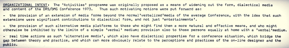 An excerpt from the manifesto for the 1973 Design Research Society/Design Methods Group Conference