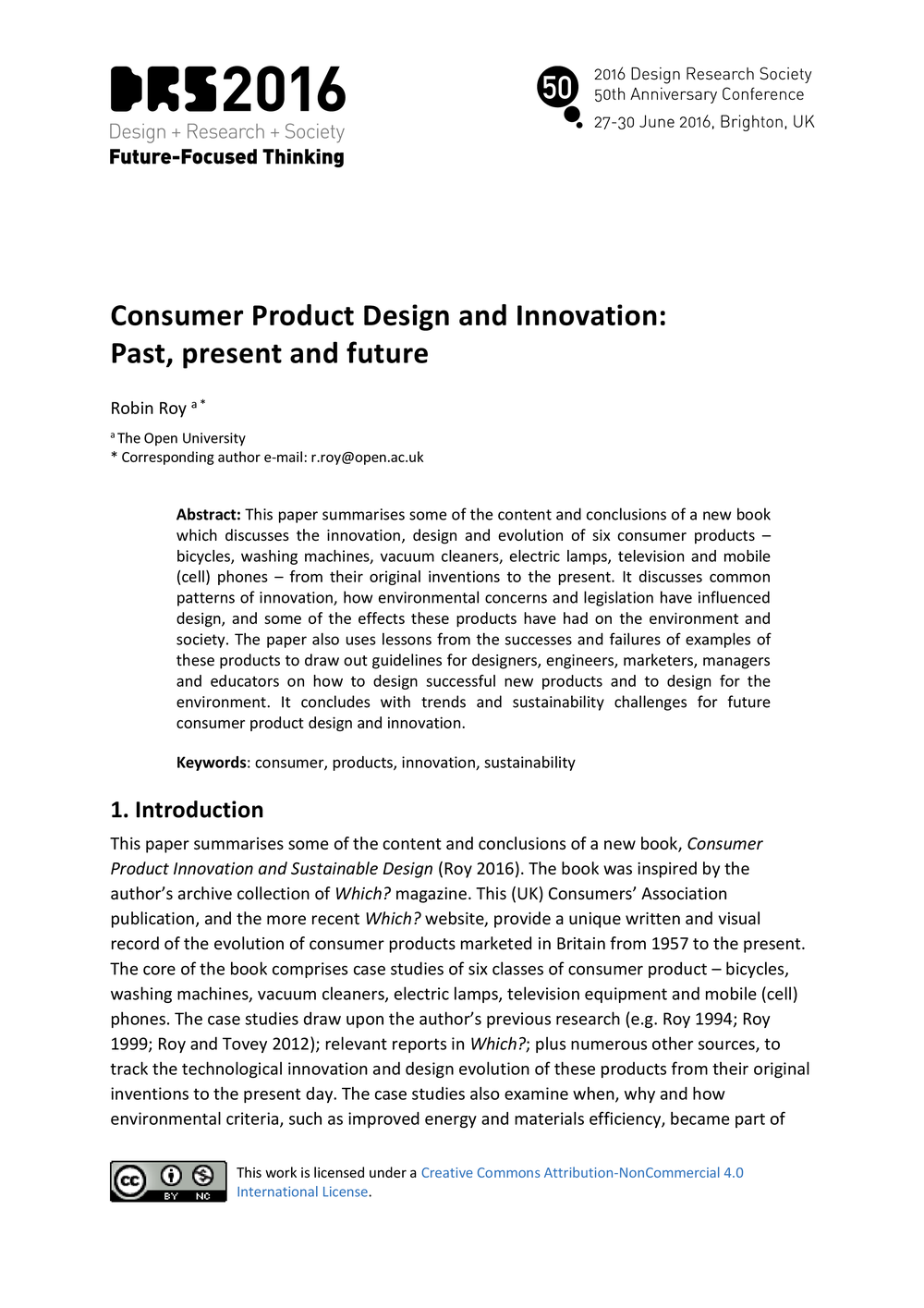 Consumer Product Design and Innovation: Past, present and future