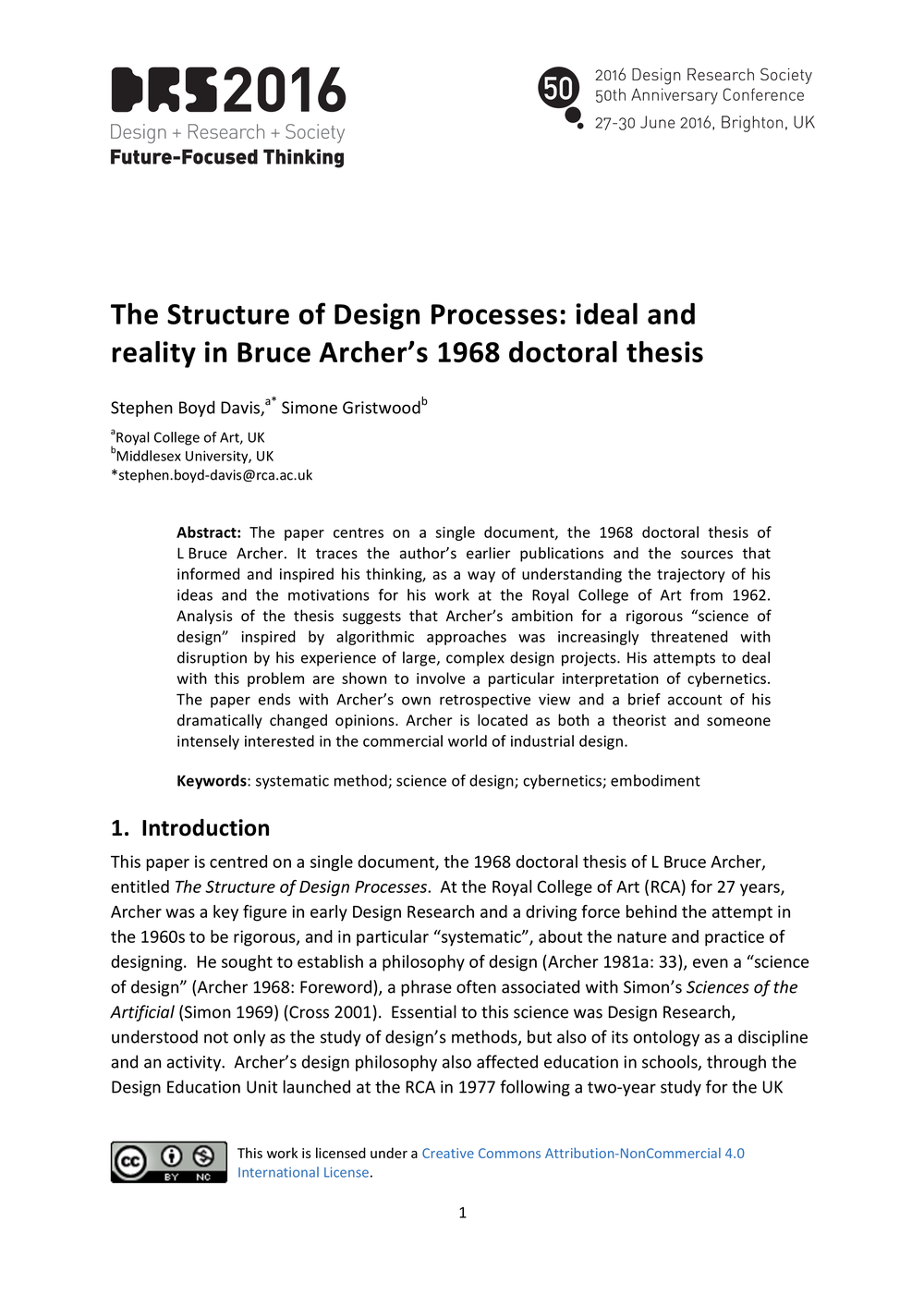 The Structure of Design Processes: Bruce Archer\'s 1968 doctoral ...