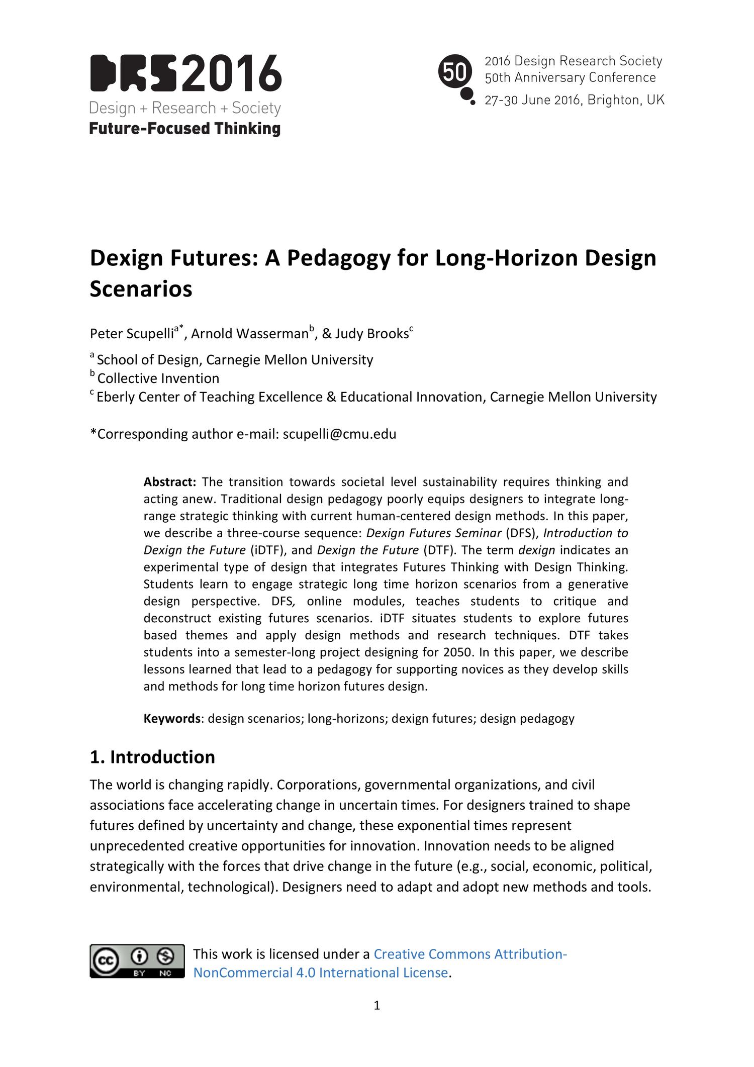 Dexign Futures: a pedagogy for Long-Horizon Design Scenarios — DRS2016