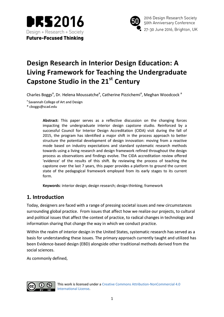 Design Research In Interior Education A Living Framework For Teaching The Undergraduate Capstone Studio 21st Century