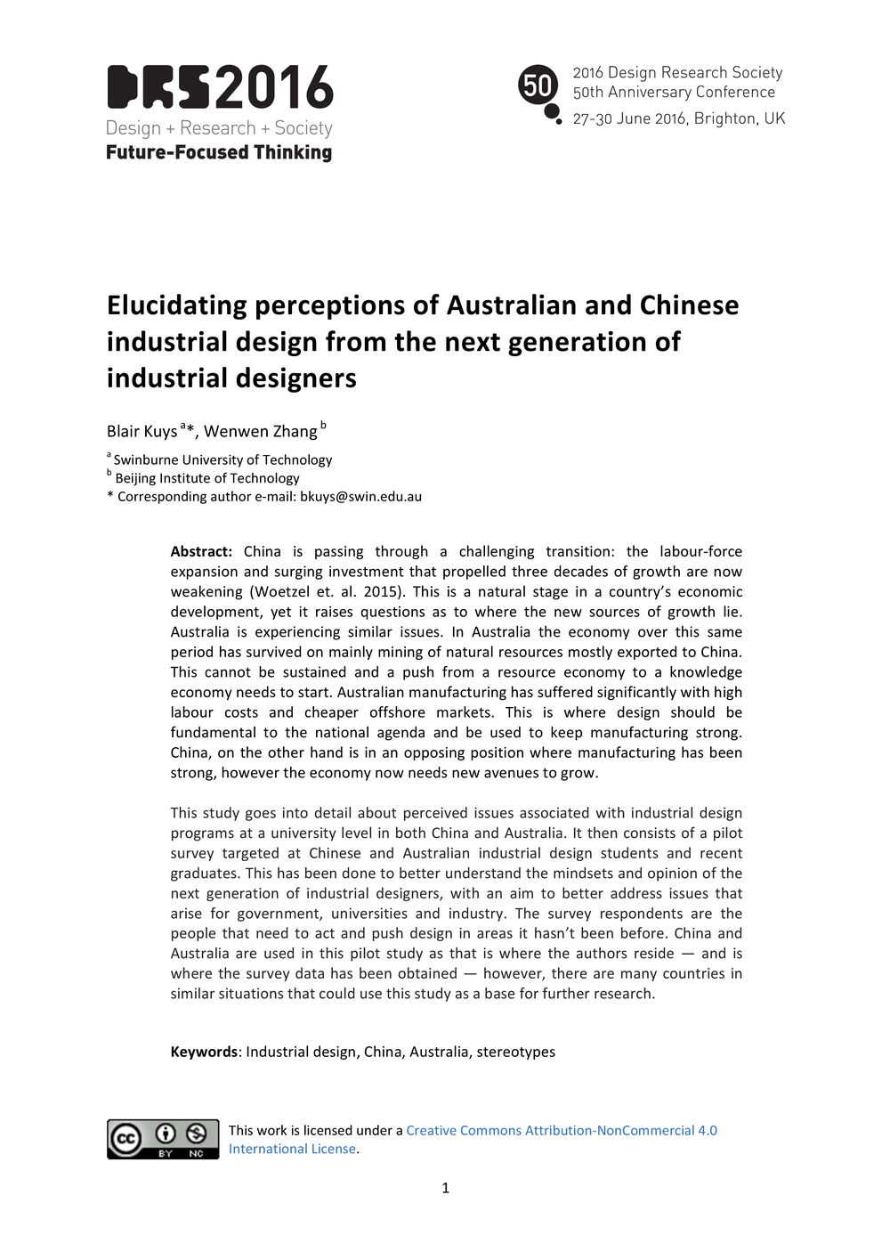 Elucidating perceptions of Australian and Chinese industrial design