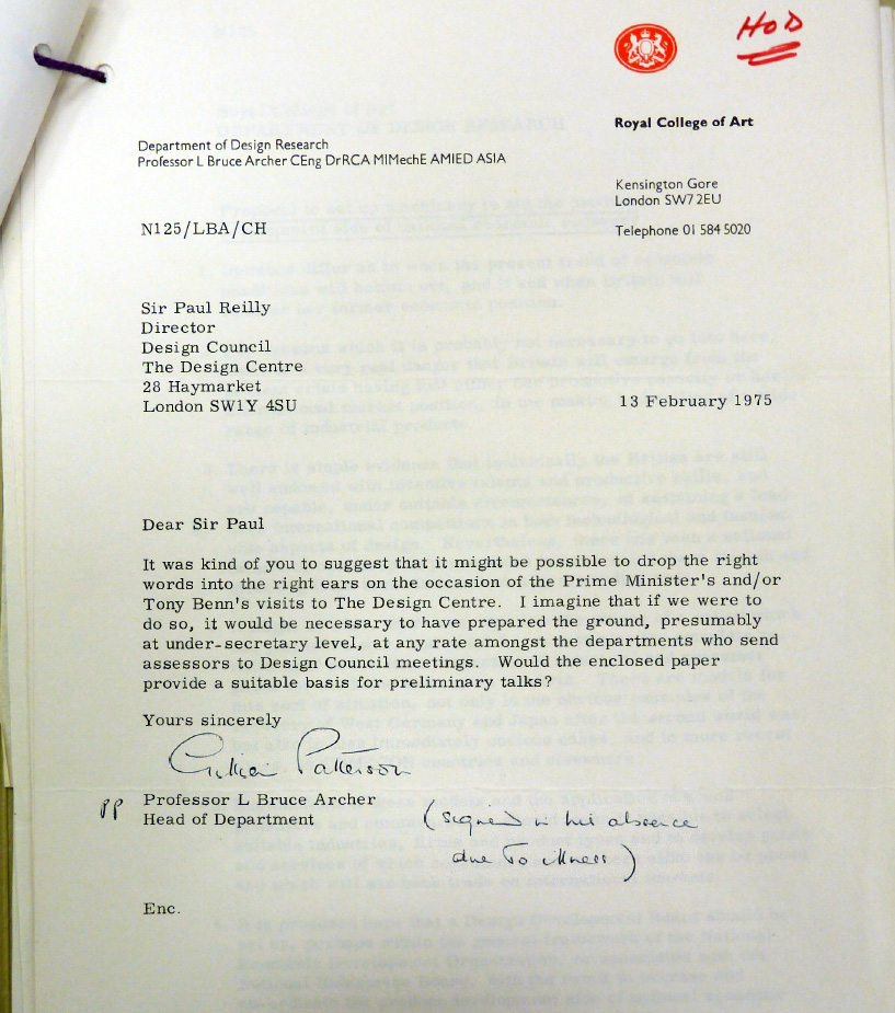 In this letter, Archer asks Sir Paul Reilly, Director of the Design Council, to have a word with the Prime Minister (Harold Wilson) or Tony Benn ( Secretary of State for Industry) about his proposal for a Design Development Board. The letter and accompanying 2-page proposal are in the Design Council Archive at University of Brighton. Reproduced here with permission.