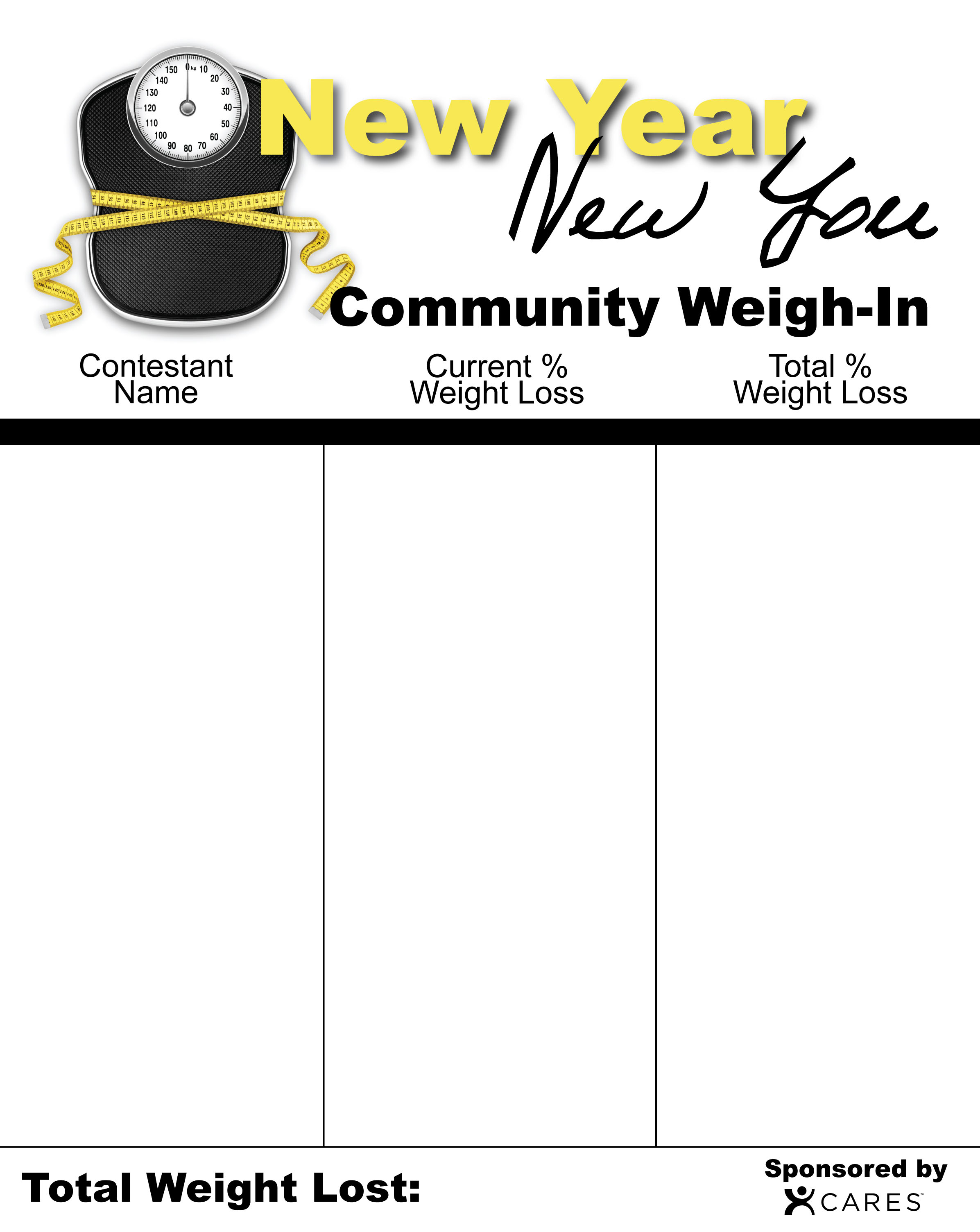New Year Weigh-In Chart