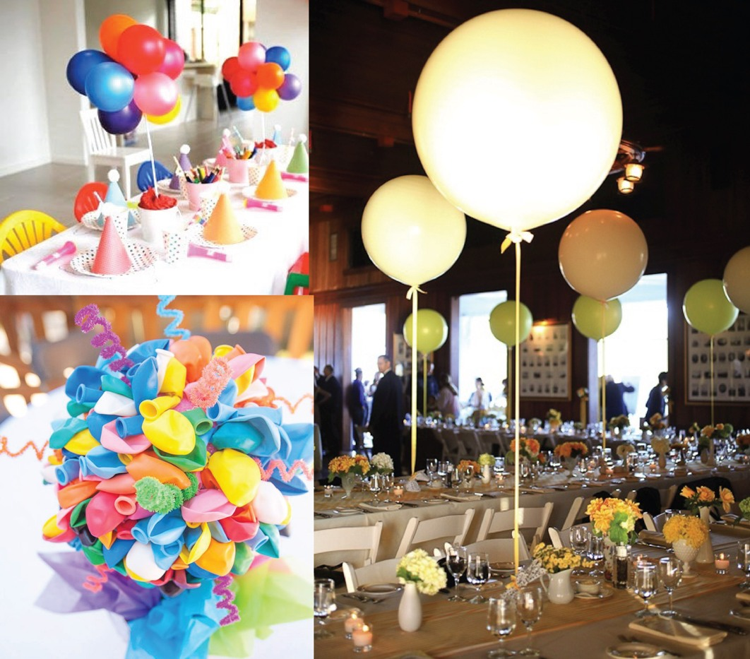 Table decorations with balloons without helium