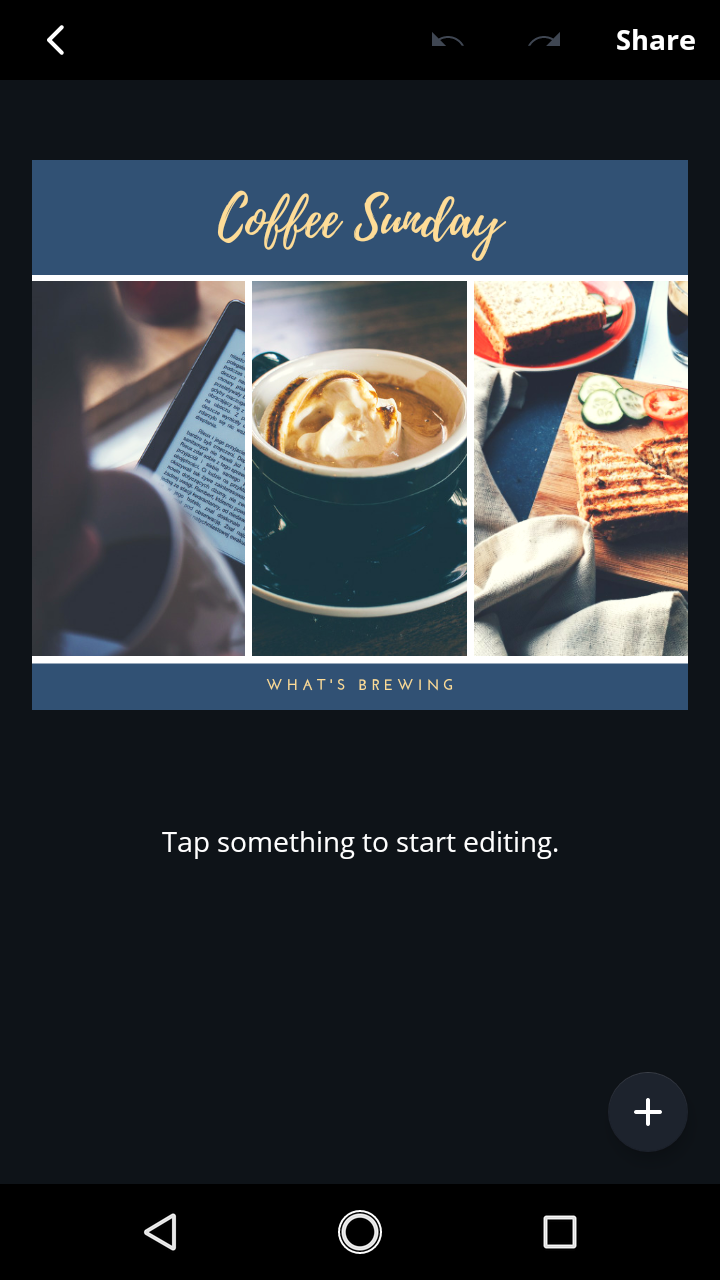 Step 2 - Click on the template you want to use, and this screen pops up. Like it says, 'tap something to start editing.' I started with the title as you'll see below.