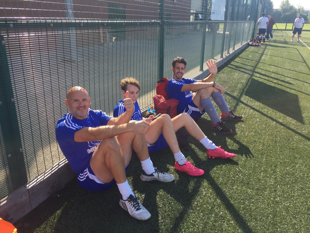 Richard, Callum and Gav enjoying a little-deserved rest and yes, Callum is wearing pink boots!