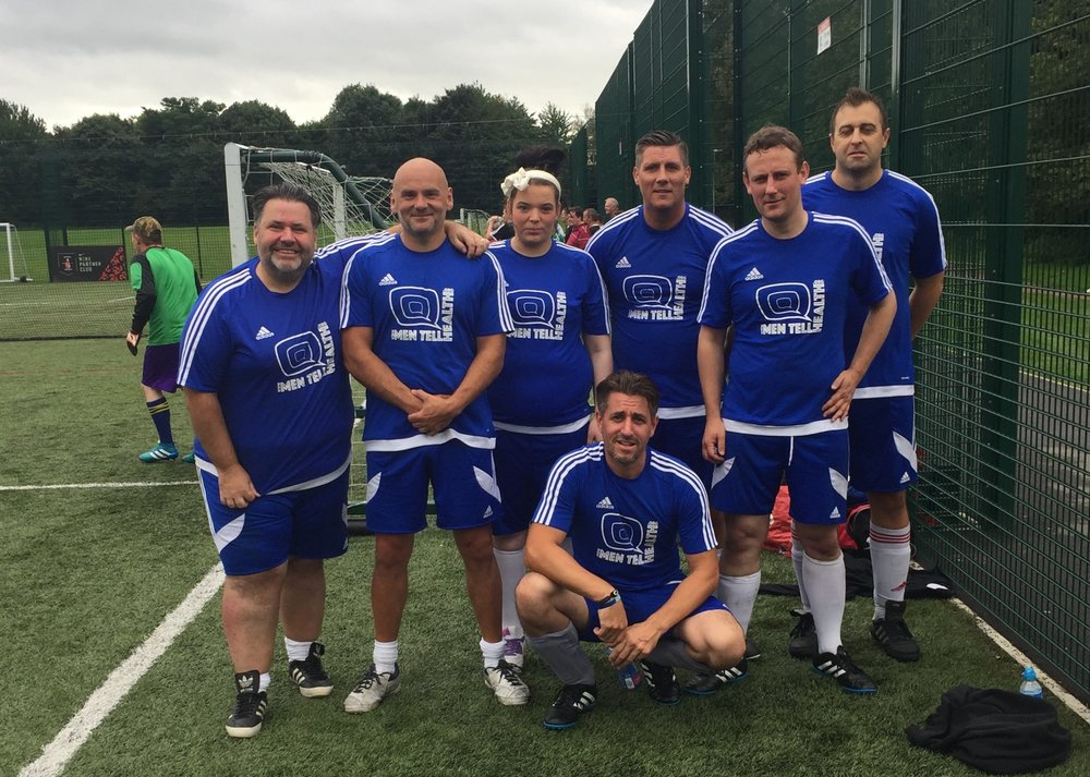 Men Tell Health v3.0 L-R Gary  'I wonder if he'll win a trophy'  Pollard, Richard  'Captain Fantastic'  Bendelow, Aimee  'Silent but deadly'  Caisley, Gavin  'Awesome'  Dawson, Lee  'Midfield Rock'  Finley, Gareth  'Giant Calves'  Cooper, Andrew  'FitBit'  Clarke.
