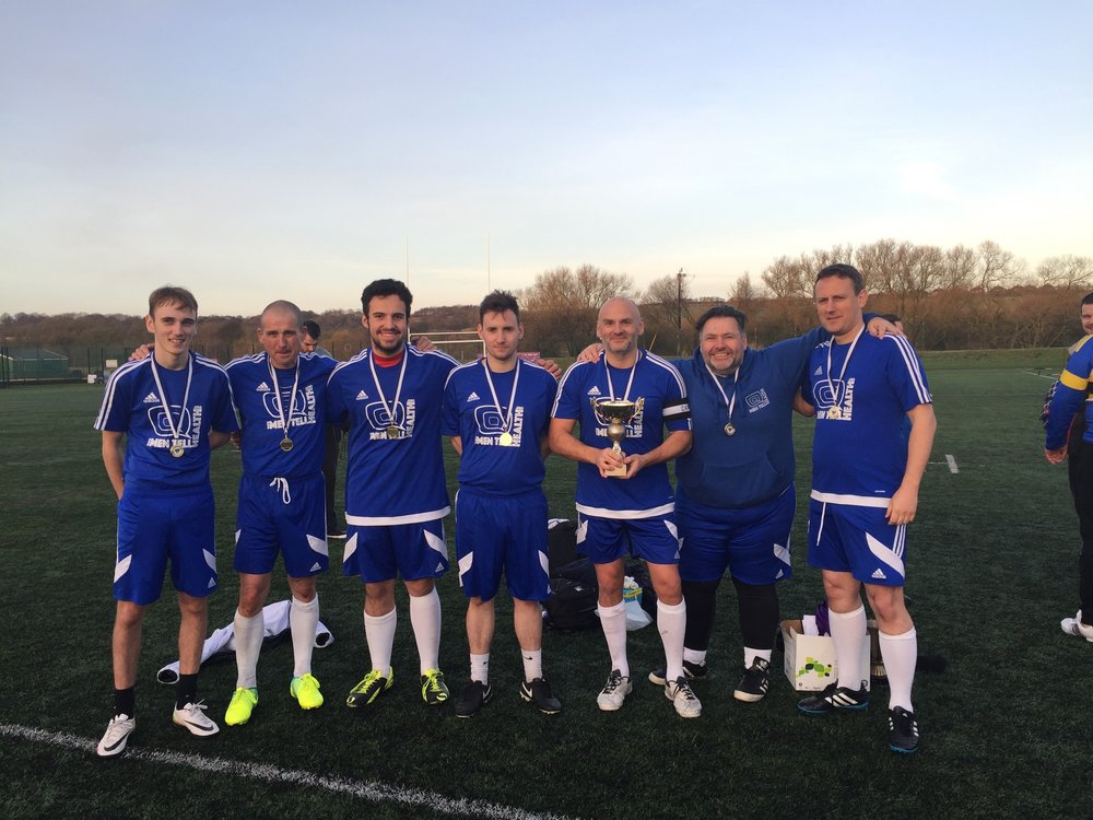 The now 'award-winning' Men Tell Health football team.....minus those who had to leave early!