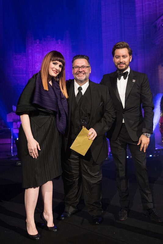 Gary with presenters for the event Ana Matronic (from the Scissor Sisters) and Big Brother star Brian Dowling.