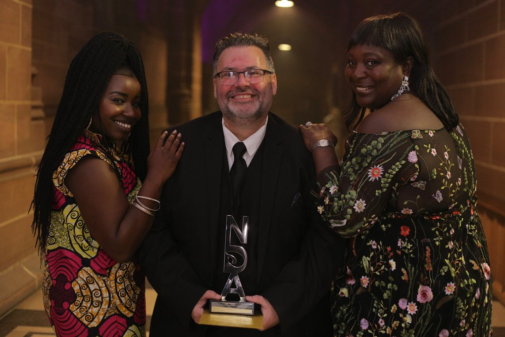 Gary with the ladies who presented him with the award; singer Misha B (on the left) and Heather Melville OBE, who was one of the very clever and intelligent judges, on the right. ;-)