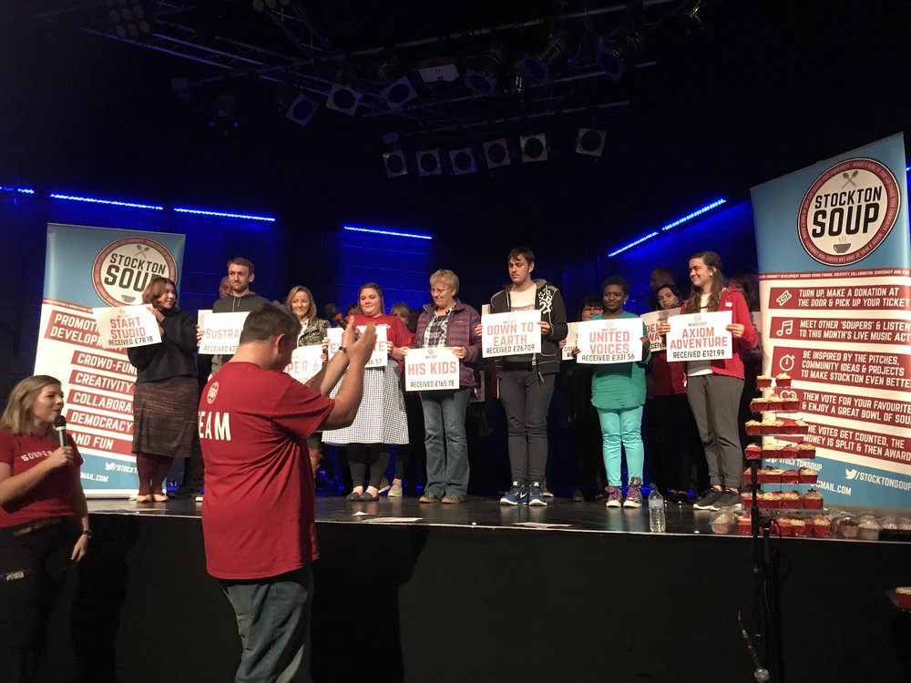 All (well most) of the past Soup recipients on stage with their project and money donated. An incredible amount of money and an amazing bunch of people.