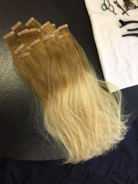 Custom colored Beach Blonde Extension ombre! These are the tape-ins that are the semi permanent solution that lasts 8-10 weeks. They come out damage free with a special coconut oil spray!