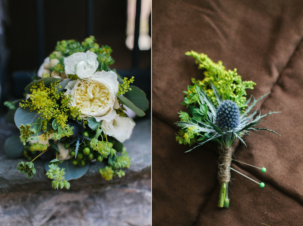 blue and white wedding florals