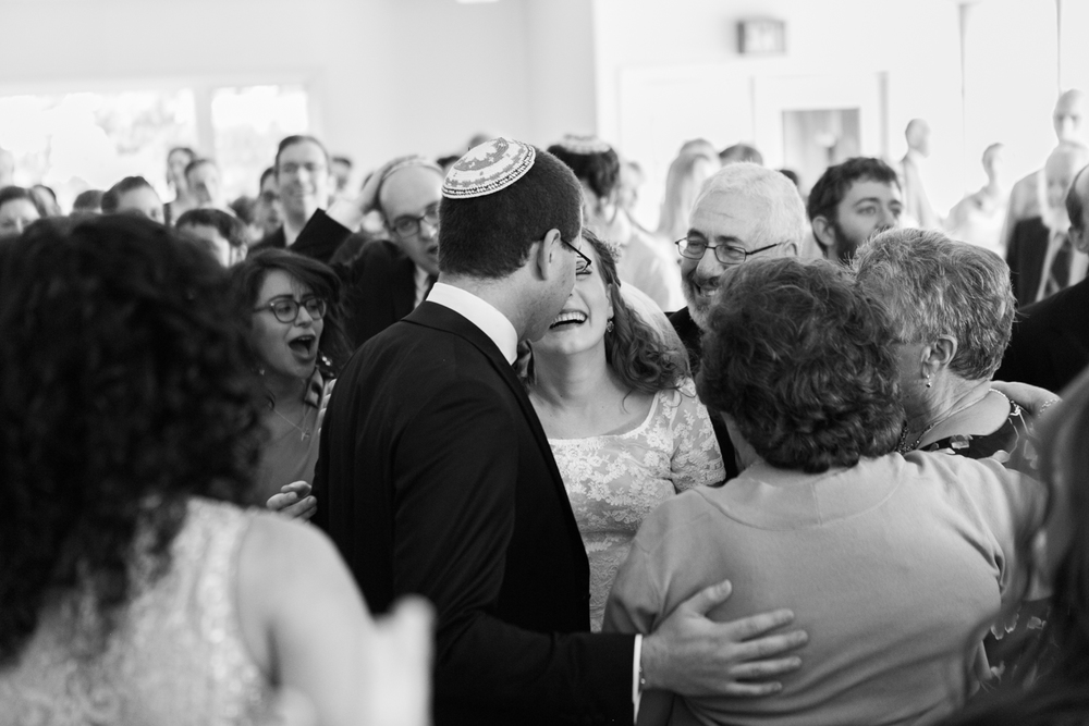 newlyweds greeting family