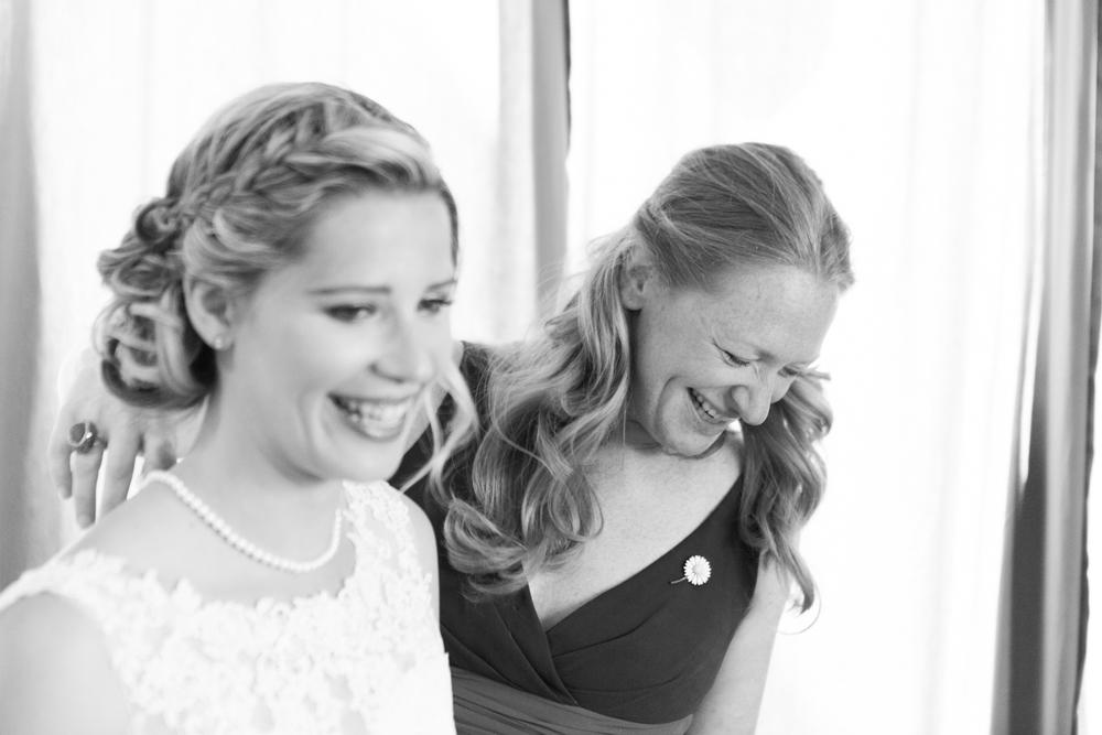 Smiling bride preparation
