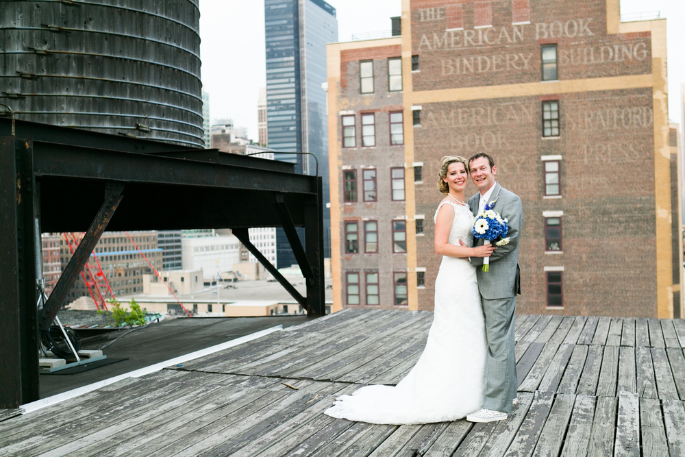 NYC rooftop newlyweds