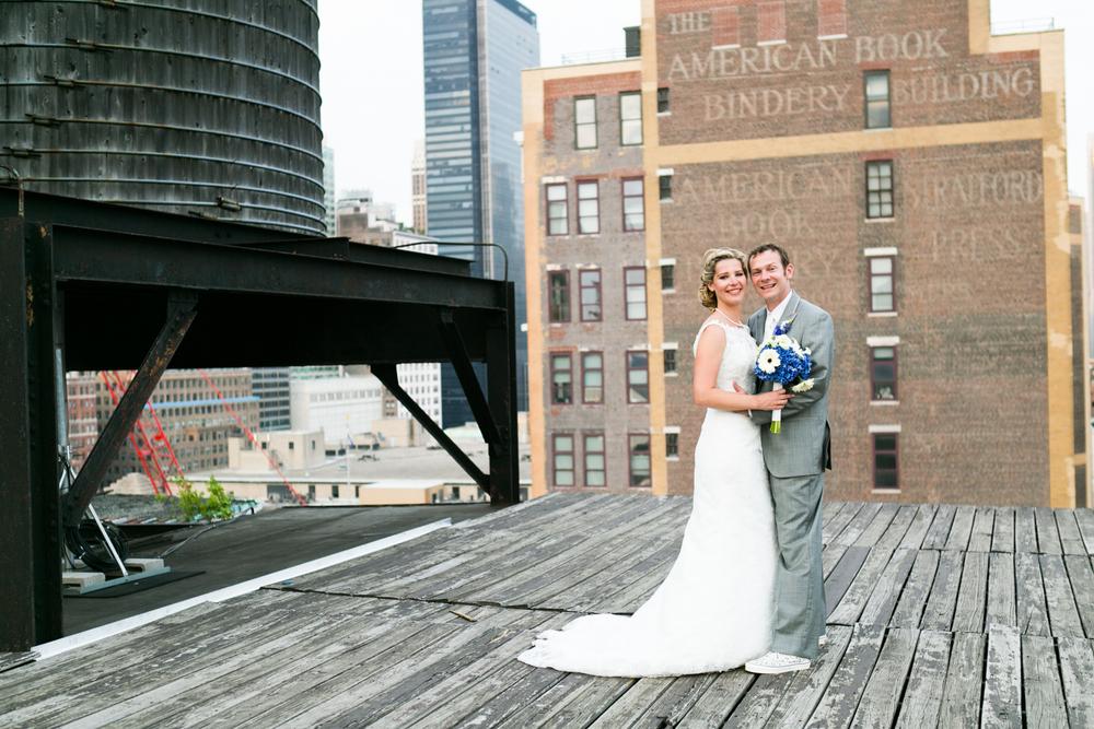 NYC rooftop newlyweds