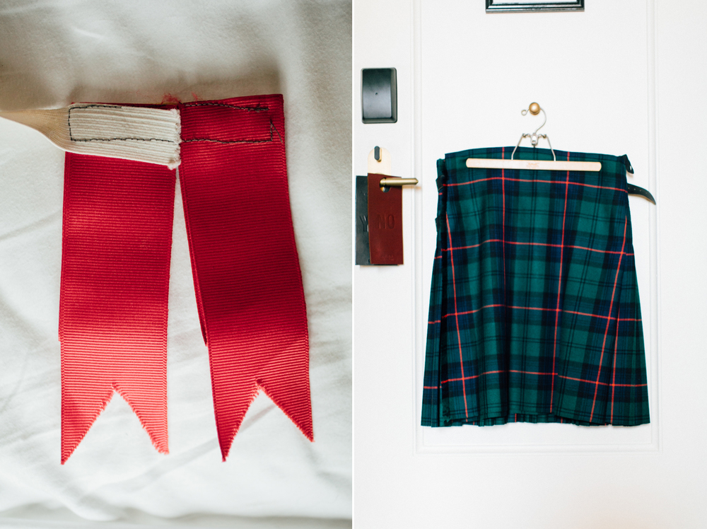 groom kilt & ribbons