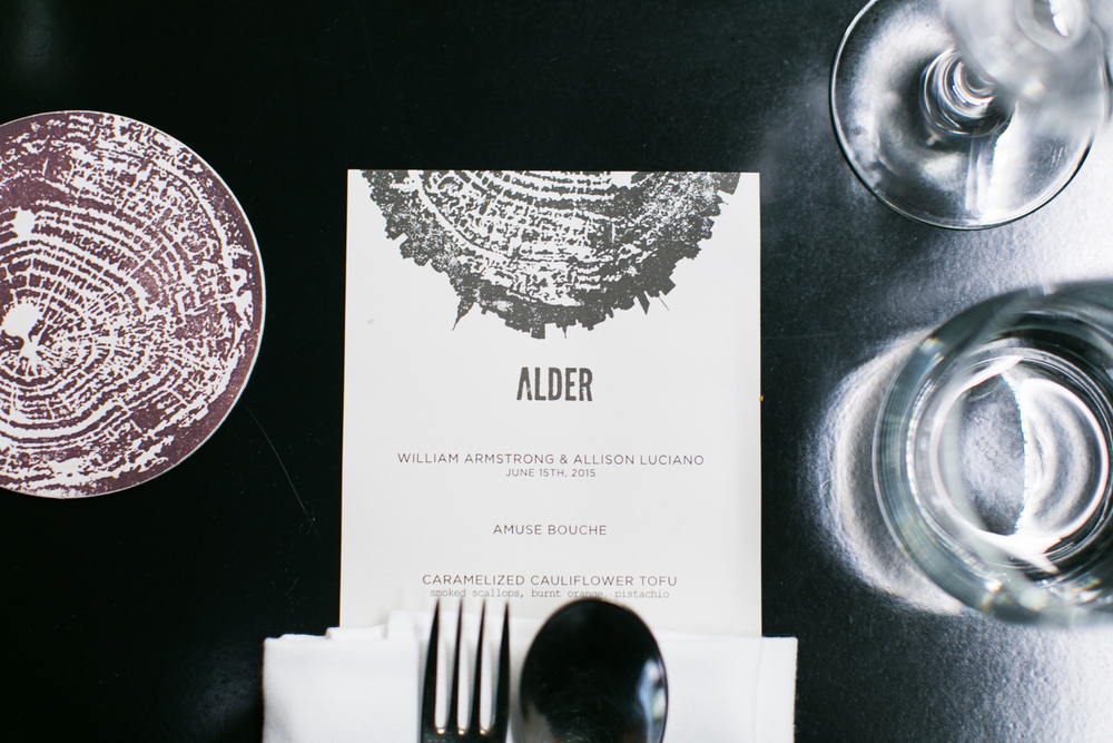 alder reception menu