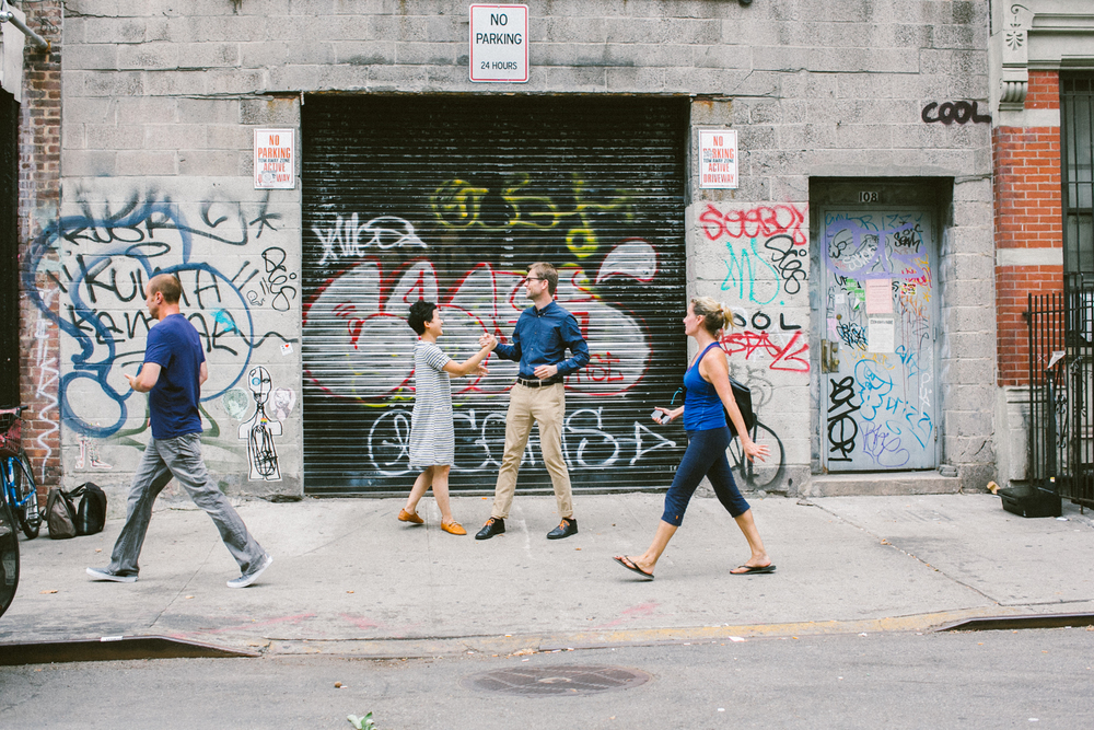 Engagement photos in NYC on street art