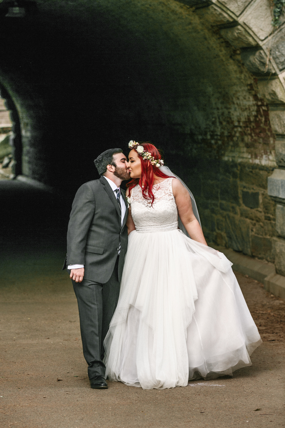 Central Park Stone Arch Wedding Photo