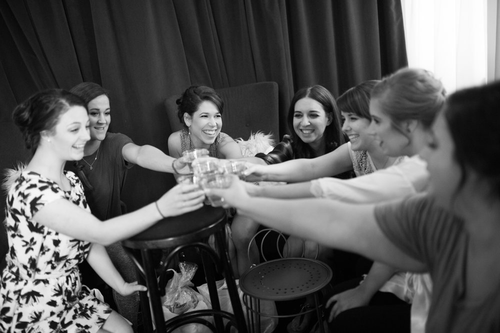 Bridesmaids Toasting Green Building Brooklyn