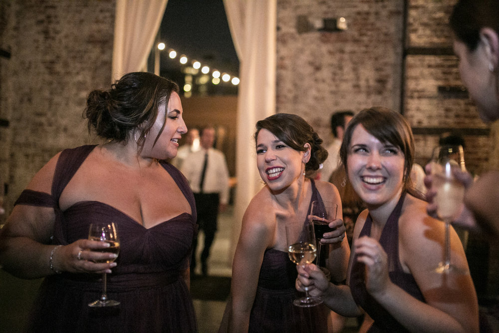 Bridesmaids Dancing Green Building Brooklyn Wedding
