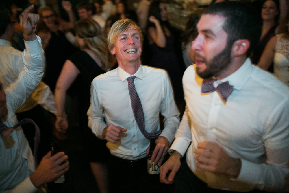 Groomsmen Dancing Green Building Brooklyn Wedding