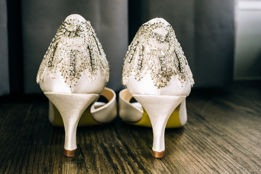 Ivory and crystal wedding shoes | photographed by Amber Marlow, NYC