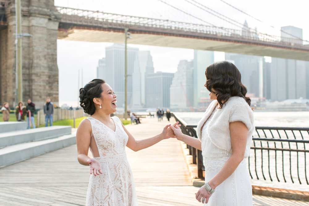 Same-sex wedding first look | photographed by Amber Marlow, NYC