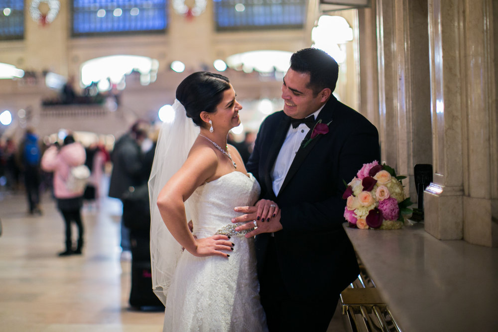 Bride and groom at grand central station