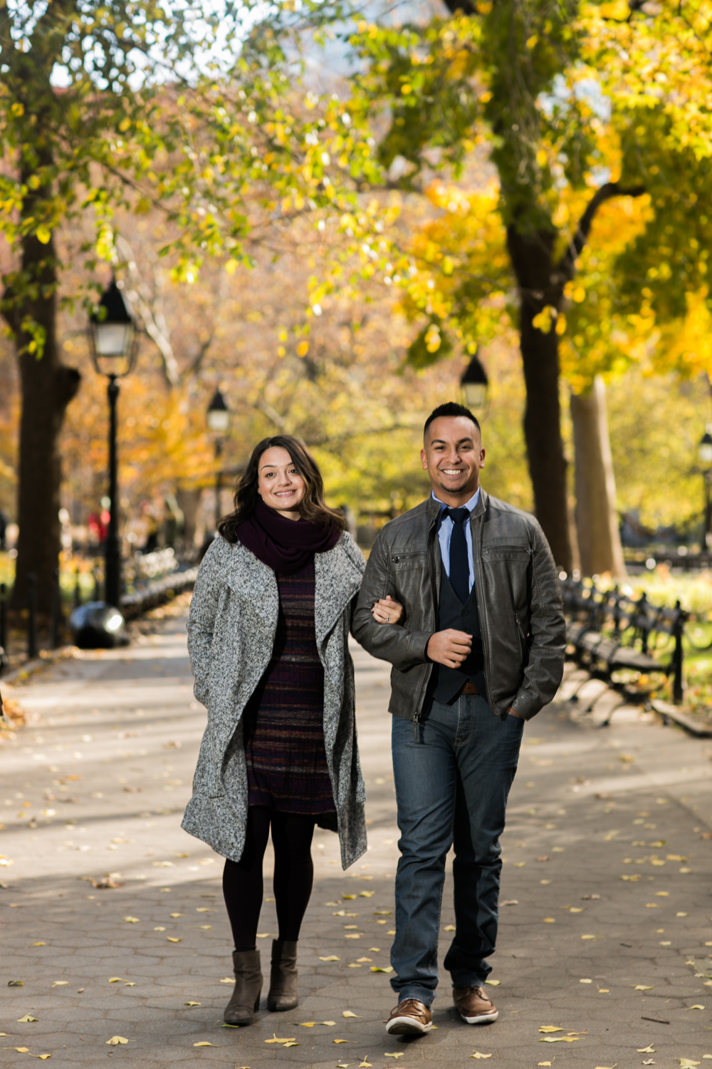 Engaged couple on a walk through Greenwich Village