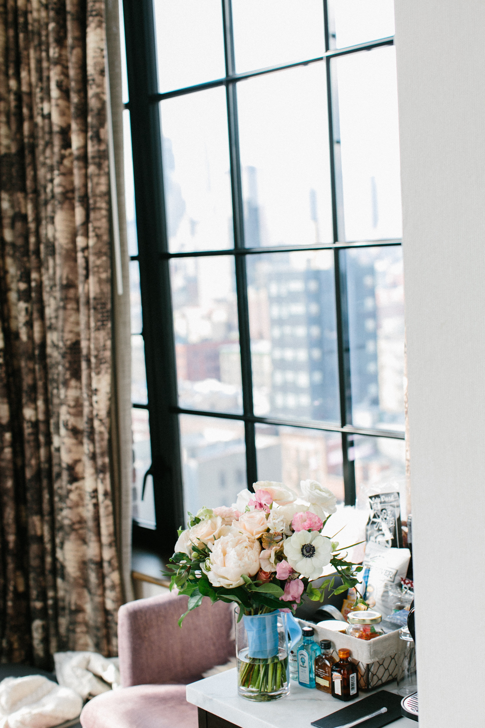 Bride's bouquet with NYC skyline in the background