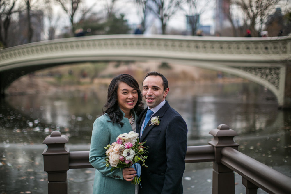 Portrait of newlyweds together in NYC